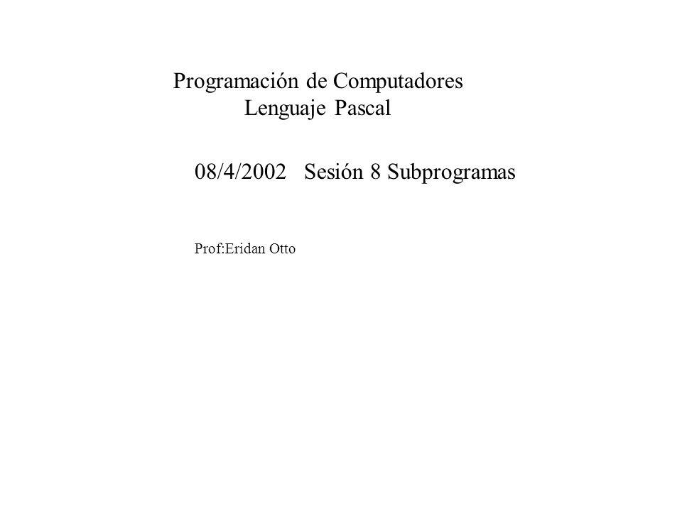 08/4/2002 Sesión 8 Subprogramas Prof:Eridan Otto Programación de Computadores Lenguaje Pascal