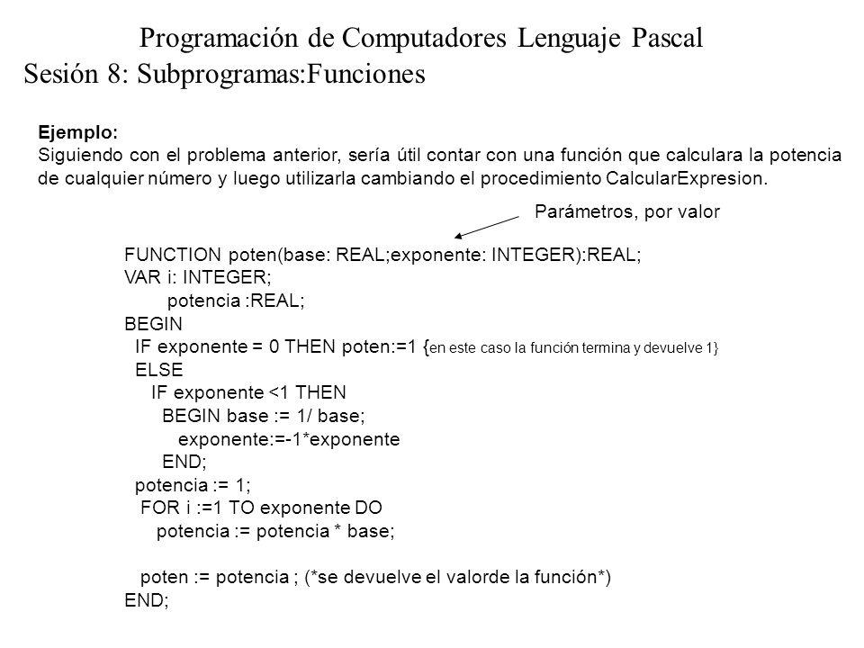 Sesión 8: Subprogramas:Funciones Programación de Computadores Lenguaje Pascal Ejemplo : Siguiendo con el problema anterior, sería útil contar con una