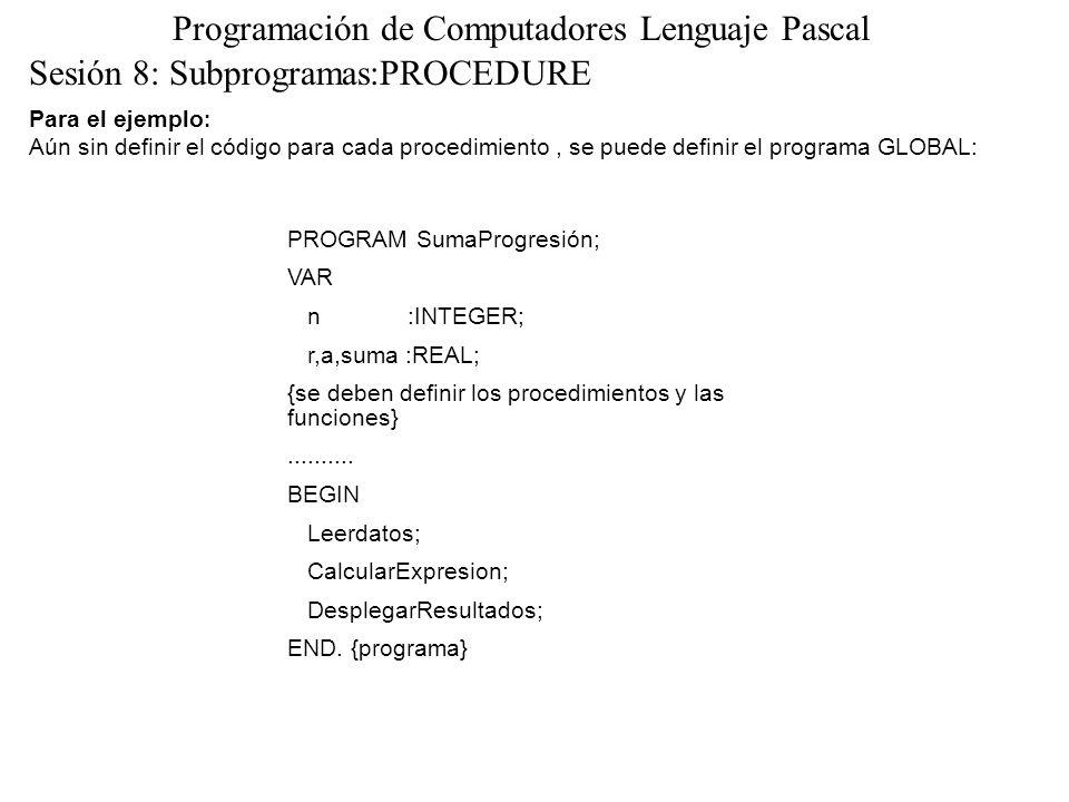 Sesión 8: Subprogramas:PROCEDURE Programación de Computadores Lenguaje Pascal Para el ejemplo : Aún sin definir el código para cada procedimiento, se