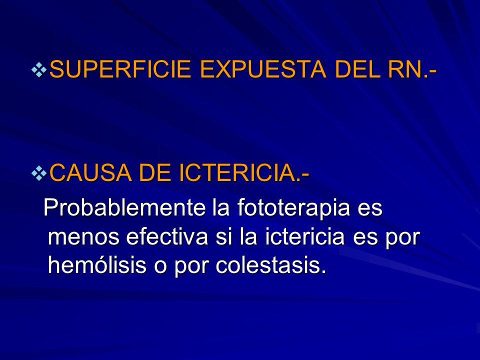 SUPERFICIE EXPUESTA DEL RN.- SUPERFICIE EXPUESTA DEL RN.- CAUSA DE ICTERICIA.- CAUSA DE ICTERICIA.- Probablemente la fototerapia es menos efectiva si
