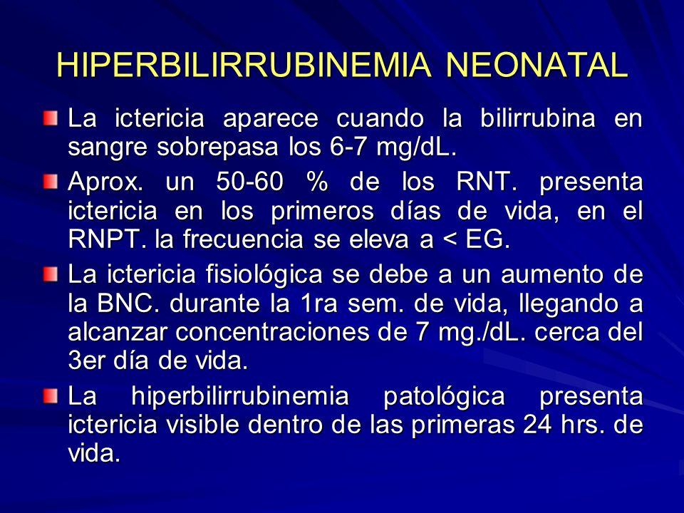 HIPERBILIRRUBINEMIA NEONATAL La ictericia aparece cuando la bilirrubina en sangre sobrepasa los 6-7 mg/dL. Aprox. un 50-60 % de los RNT. presenta icte