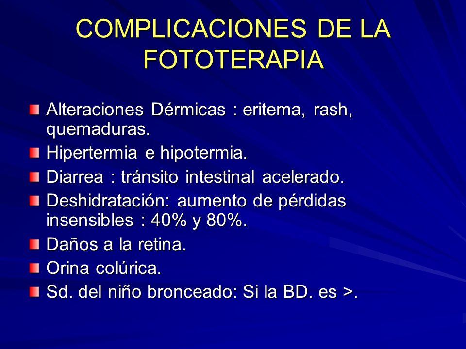 COMPLICACIONES DE LA FOTOTERAPIA Alteraciones Dérmicas : eritema, rash, quemaduras. Hipertermia e hipotermia. Diarrea : tránsito intestinal acelerado.