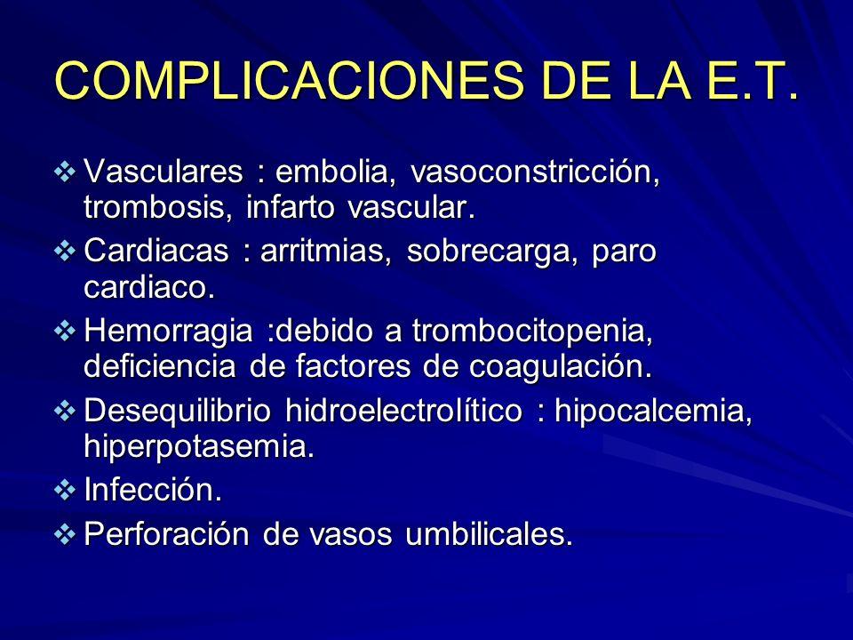 COMPLICACIONES DE LA E.T. Vasculares : embolia, vasoconstricción, trombosis, infarto vascular. Vasculares : embolia, vasoconstricción, trombosis, infa