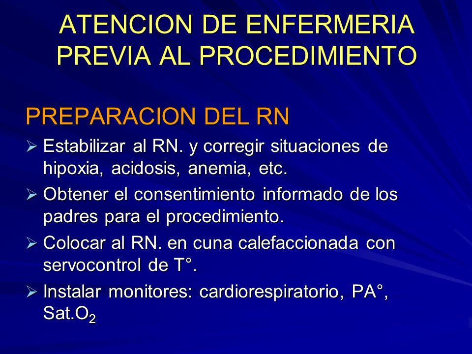 ATENCION DE ENFERMERIA PREVIA AL PROCEDIMIENTO PREPARACION DEL RN Estabilizar al RN. y corregir situaciones de hipoxia, acidosis, anemia, etc. Estabil
