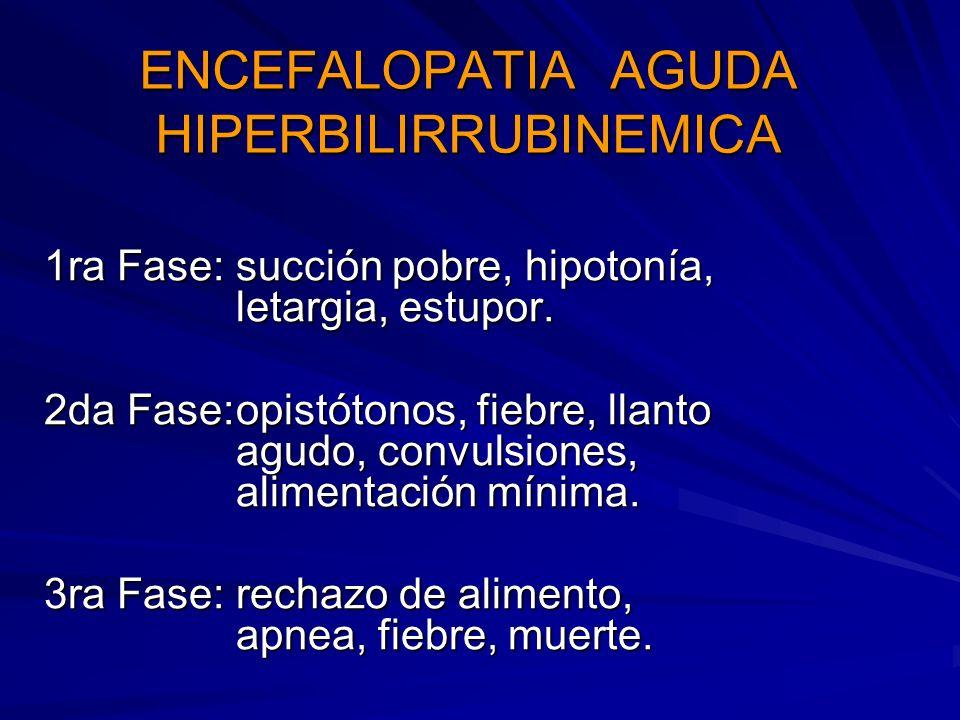 ENCEFALOPATIA CRONICA KERNICTERUS Parálisis cerebral, disfunción auditiva, déficit intelectual, retardo mental.