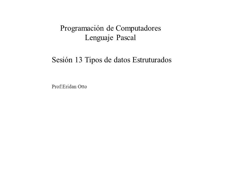 Sesión 13: Tipos de datos Estruturados Programación de Computadores Lenguaje Pascal TEMARIO Tipos de datos Estruturados Búsqueda y ordenamiento en arreglos Bidimensionales