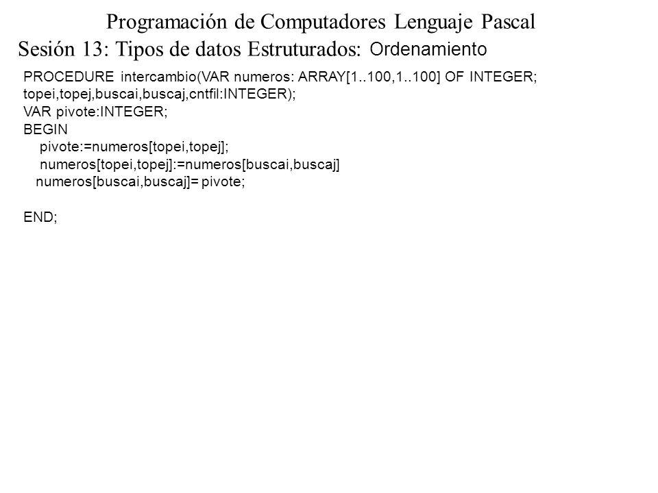 Sesión 13: Tipos de datos Estruturados: Ordenamiento Programación de Computadores Lenguaje Pascal PROCEDURE intercambio(VAR numeros: ARRAY[1..100,1..100] OF INTEGER; topei,topej,buscai,buscaj,cntfil:INTEGER); VAR pivote:INTEGER; BEGIN pivote:=numeros[topei,topej]; numeros[topei,topej]:=numeros[buscai,buscaj] numeros[buscai,buscaj]= pivote; END;