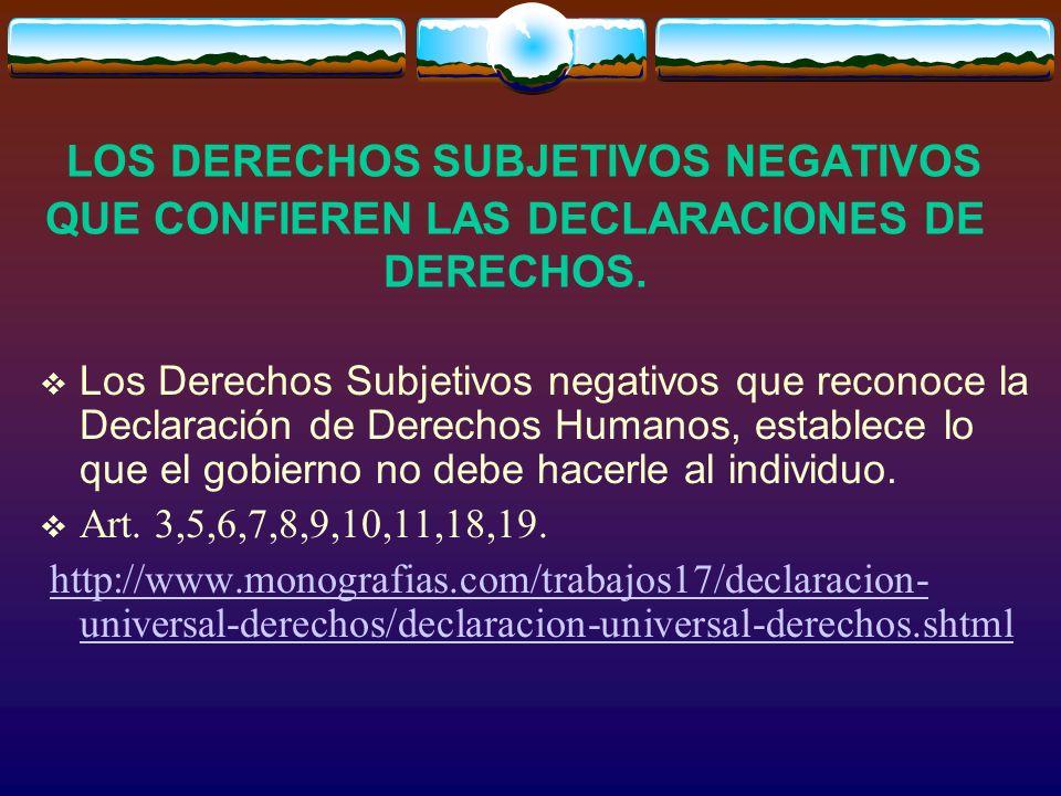 LOS DERECHOS SUBJETIVOS NEGATIVOS QUE CONFIEREN LAS DECLARACIONES DE DERECHOS. Los Derechos Subjetivos negativos que reconoce la Declaración de Derech