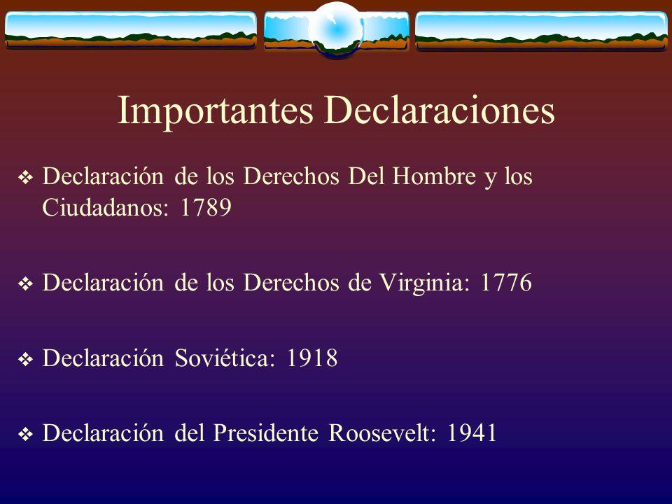 Importantes Declaraciones Declaración de los Derechos Del Hombre y los Ciudadanos: 1789 Declaración de los Derechos de Virginia: 1776 Declaración Sovi