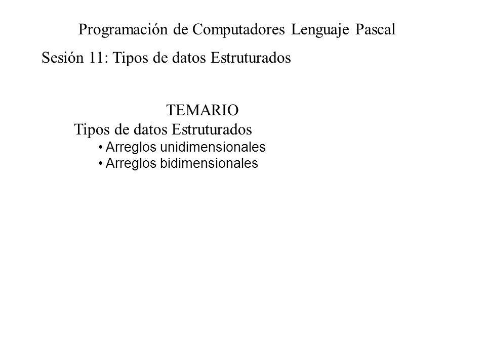 Sesión 11: Tipos de datos Estruturados Programación de Computadores Lenguaje Pascal TEMARIO Tipos de datos Estruturados Arreglos unidimensionales Arreglos bidimensionales