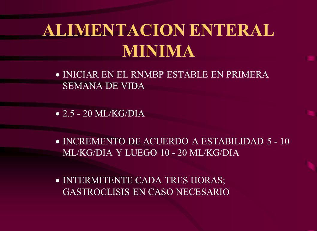 ALIMENTACION ENTERAL MINIMA INICIAR EN EL RNMBP ESTABLE EN PRIMERA SEMANA DE VIDA 2.5 - 20 ML/KG/DIA INCREMENTO DE ACUERDO A ESTABILIDAD 5 - 10 ML/KG/DIA Y LUEGO 10 - 20 ML/KG/DIA INTERMITENTE CADA TRES HORAS; GASTROCLISIS EN CASO NECESARIO