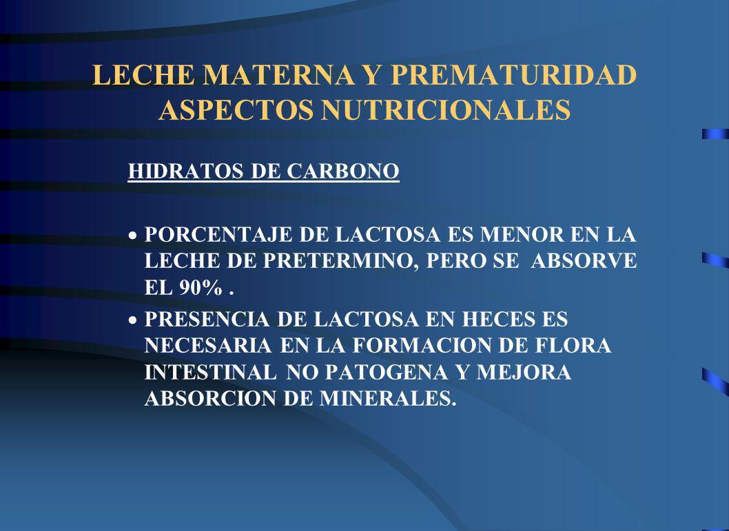 LECHE MATERNA Y PREMATURIDAD ASPECTOS NUTRICIONALES HIDRATOS DE CARBONO PORCENTAJE DE LACTOSA ES MENOR EN LA LECHE DE PRETERMINO, PERO SE ABSORVE EL 90%.