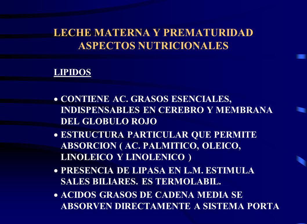 LECHE MATERNA Y PREMATURIDAD ASPECTOS NUTRICIONALES LIPIDOS CONTIENE AC. GRASOS ESENCIALES, INDISPENSABLES EN CEREBRO Y MEMBRANA DEL GLOBULO ROJO ESTR