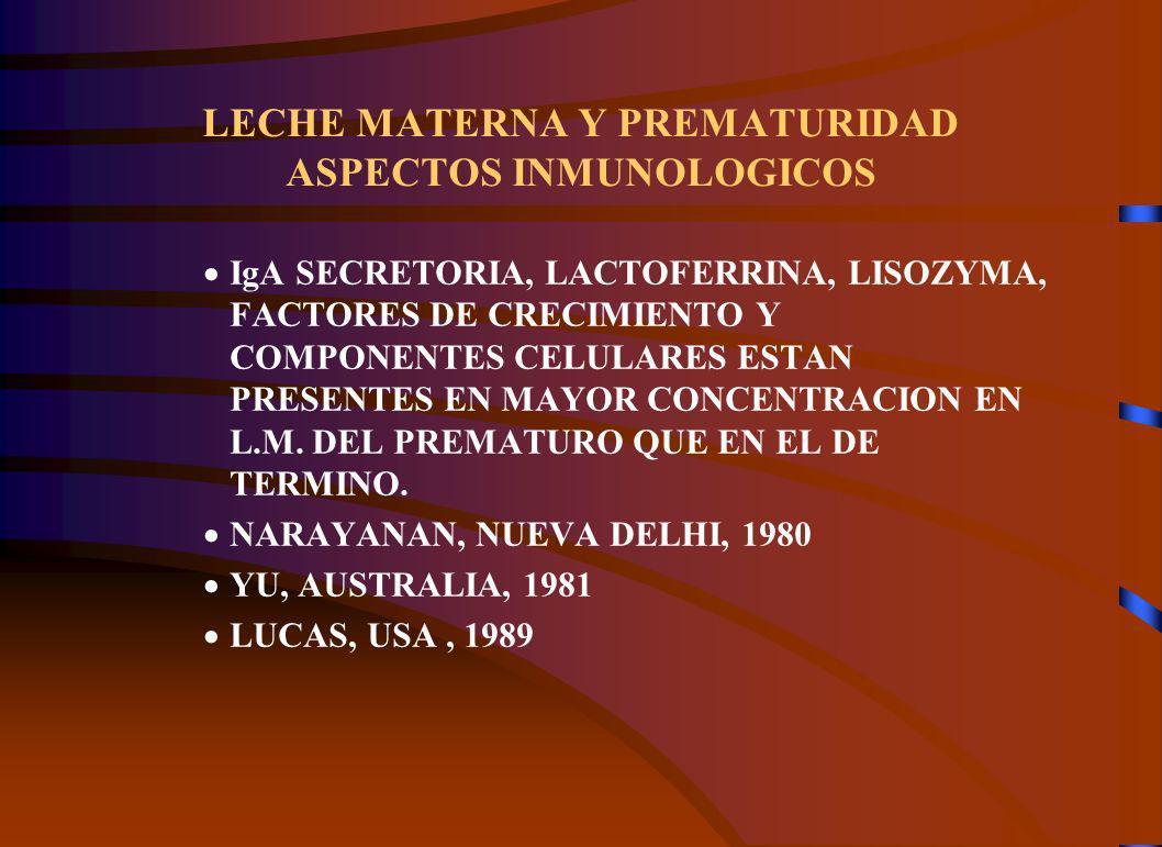 LECHE MATERNA Y PREMATURIDAD ASPECTOS INMUNOLOGICOS IgA SECRETORIA, LACTOFERRINA, LISOZYMA, FACTORES DE CRECIMIENTO Y COMPONENTES CELULARES ESTAN PRESENTES EN MAYOR CONCENTRACION EN L.M.