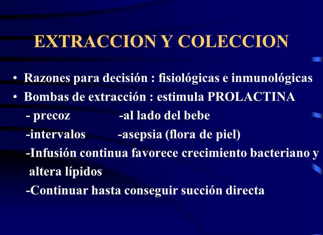EXTRACCION Y COLECCION Razones para decisión : fisiológicas e inmunológicas Bombas de extracción : estimula PROLACTINA - precoz -al lado del bebe -int