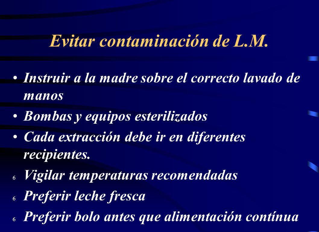 Evitar contaminación de L.M. Instruir a la madre sobre el correcto lavado de manos Bombas y equipos esterilizados Cada extracción debe ir en diferente
