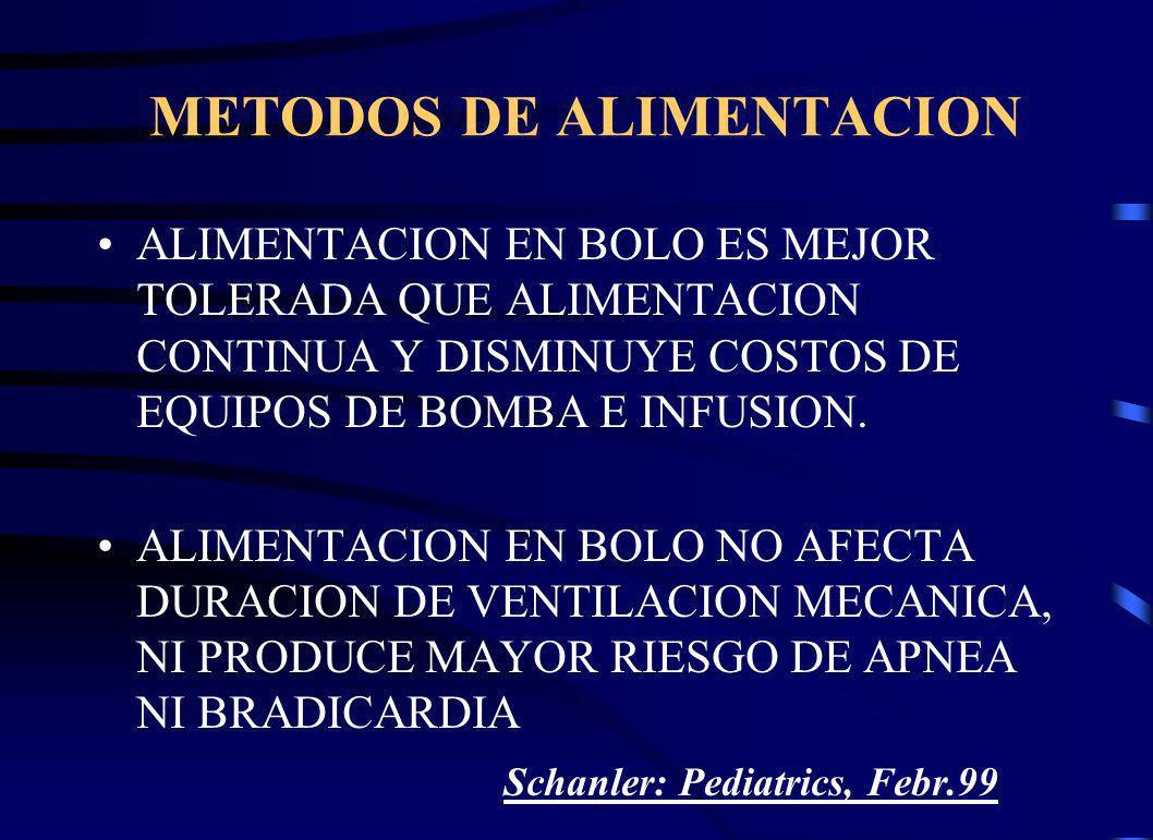 METODOS DE ALIMENTACION ALIMENTACION EN BOLO ES MEJOR TOLERADA QUE ALIMENTACION CONTINUA Y DISMINUYE COSTOS DE EQUIPOS DE BOMBA E INFUSION.