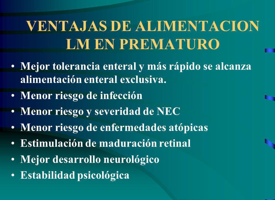 VENTAJAS DE ALIMENTACION LM EN PREMATURO Mejor tolerancia enteral y más rápido se alcanza alimentación enteral exclusiva.
