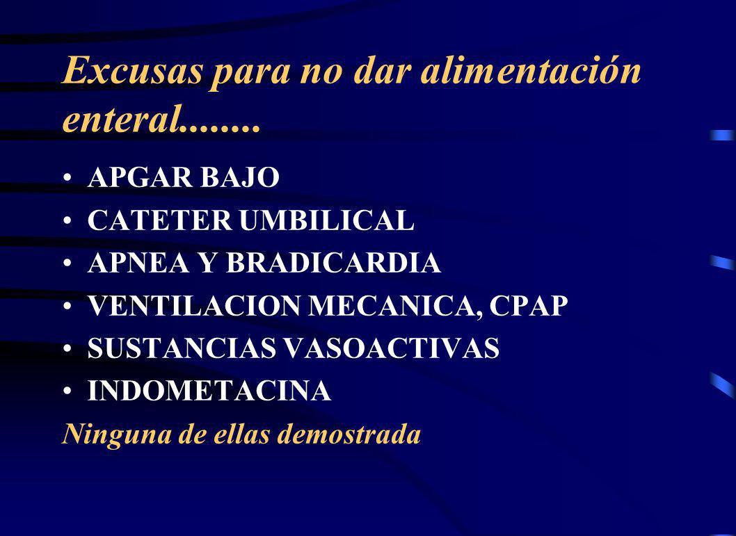 Excusas para no dar alimentación enteral........ APGAR BAJO CATETER UMBILICAL APNEA Y BRADICARDIA VENTILACION MECANICA, CPAP SUSTANCIAS VASOACTIVAS IN