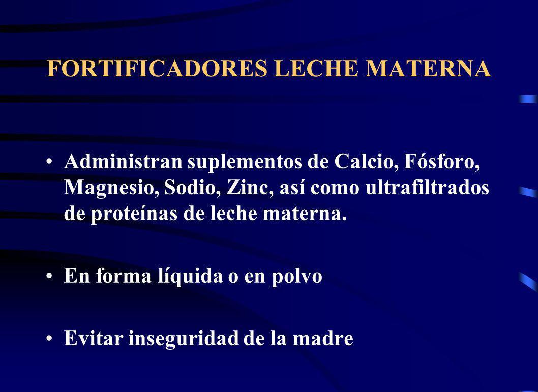 FORTIFICADORES LECHE MATERNA Administran suplementos de Calcio, Fósforo, Magnesio, Sodio, Zinc, así como ultrafiltrados de proteínas de leche materna.
