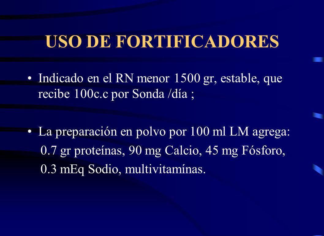 USO DE FORTIFICADORES Indicado en el RN menor 1500 gr, estable, que recibe 100c.c por Sonda /día ; La preparación en polvo por 100 ml LM agrega: 0.7 gr proteínas, 90 mg Calcio, 45 mg Fósforo, 0.3 mEq Sodio, multivitamínas.