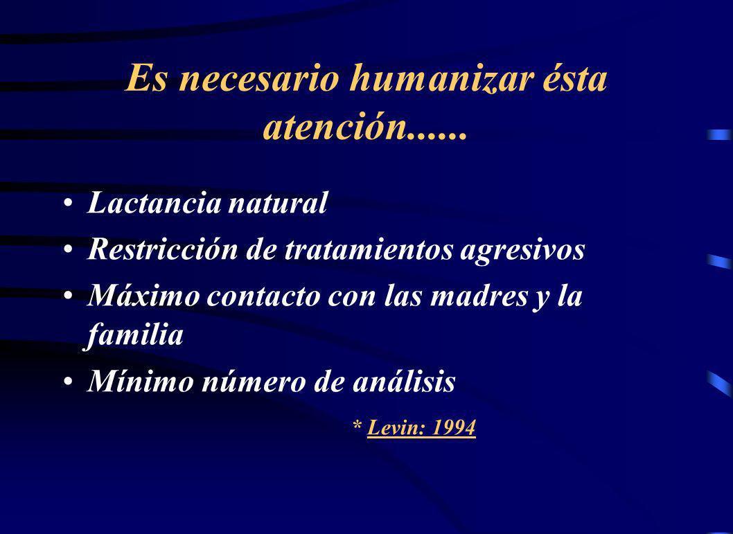 Es necesario humanizar ésta atención...... Lactancia natural Restricción de tratamientos agresivos Máximo contacto con las madres y la familia Mínimo