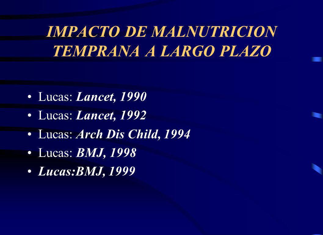 IMPACTO DE MALNUTRICION TEMPRANA A LARGO PLAZO Lucas: Lancet, 1990 Lucas: Lancet, 1992 Lucas: Arch Dis Child, 1994 Lucas: BMJ, 1998 Lucas:BMJ, 1999