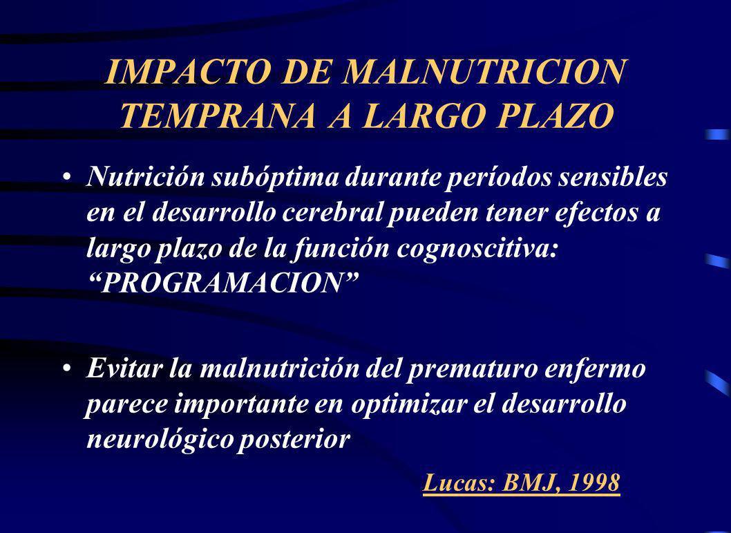 IMPACTO DE MALNUTRICION TEMPRANA A LARGO PLAZO Nutrición subóptima durante períodos sensibles en el desarrollo cerebral pueden tener efectos a largo plazo de la función cognoscitiva: PROGRAMACION Evitar la malnutrición del prematuro enfermo parece importante en optimizar el desarrollo neurológico posterior Lucas: BMJ, 1998