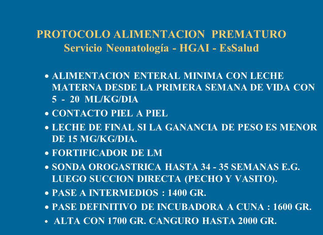 PROTOCOLO ALIMENTACION PREMATURO Servicio Neonatología - HGAI - EsSalud ALIMENTACION ENTERAL MINIMA CON LECHE MATERNA DESDE LA PRIMERA SEMANA DE VIDA CON 5 - 20 ML/KG/DIA CONTACTO PIEL A PIEL LECHE DE FINAL SI LA GANANCIA DE PESO ES MENOR DE 15 MG/KG/DIA.