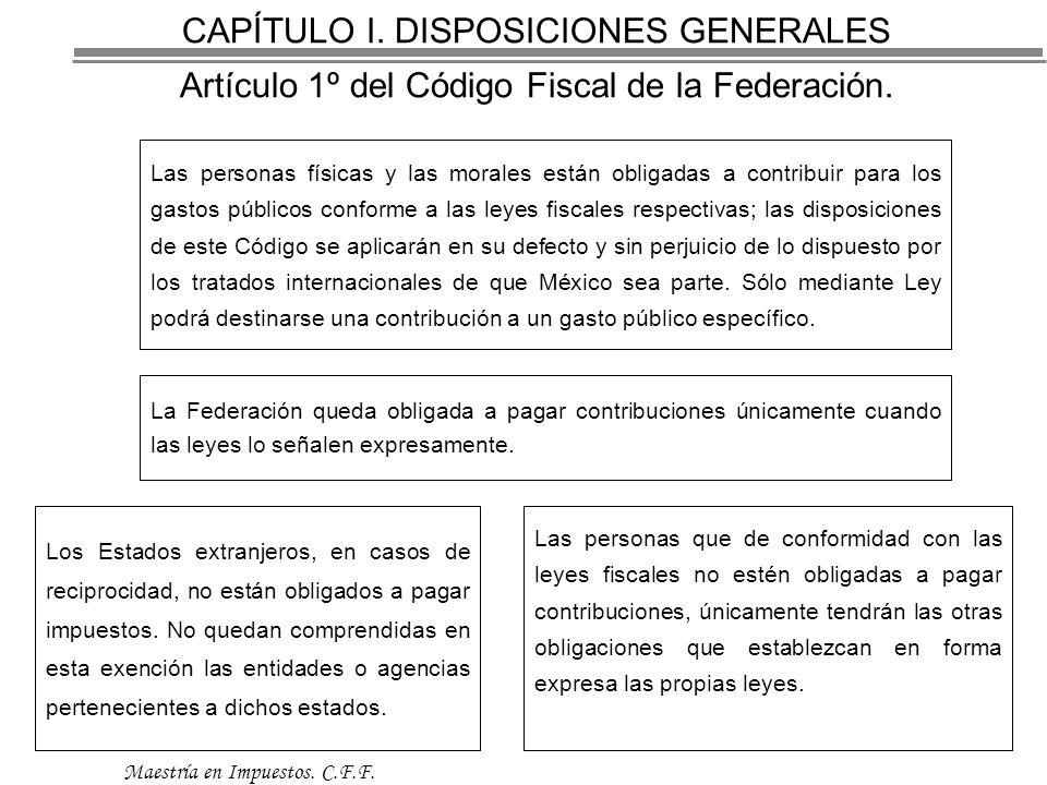 CAPÍTULO I.DISPOSICIONES GENERALES Artículo 1º del Código Fiscal de la Federación.