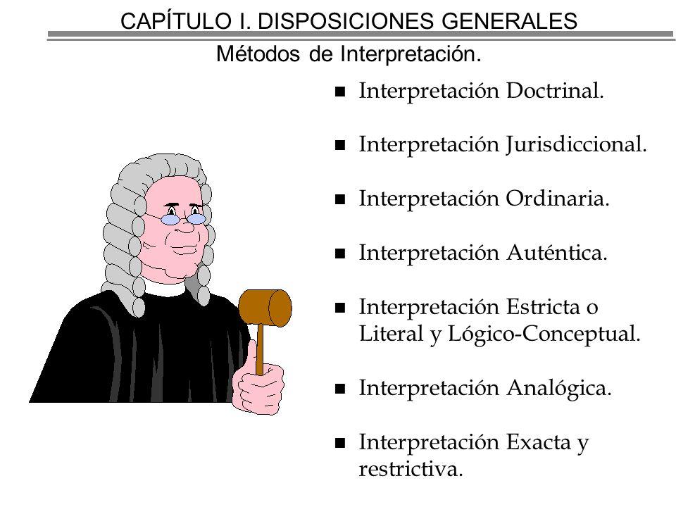 CAPÍTULO I.DISPOSICIONES GENERALES Métodos de Interpretación.