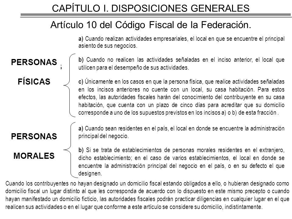CAPÍTULO I.DISPOSICIONES GENERALES Artículo 10 del Código Fiscal de la Federación.