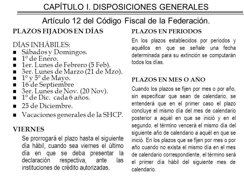 CAPÍTULO I.DISPOSICIONES GENERALES Artículo 12 del Código Fiscal de la Federación.