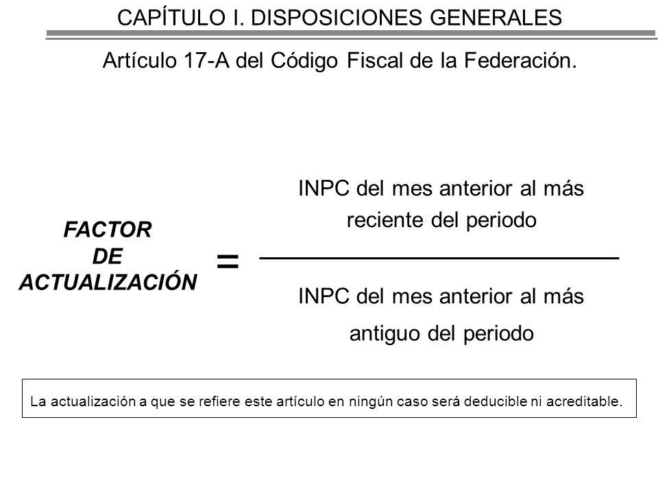 CAPÍTULO I.DISPOSICIONES GENERALES Artículo 17-A del Código Fiscal de la Federación.