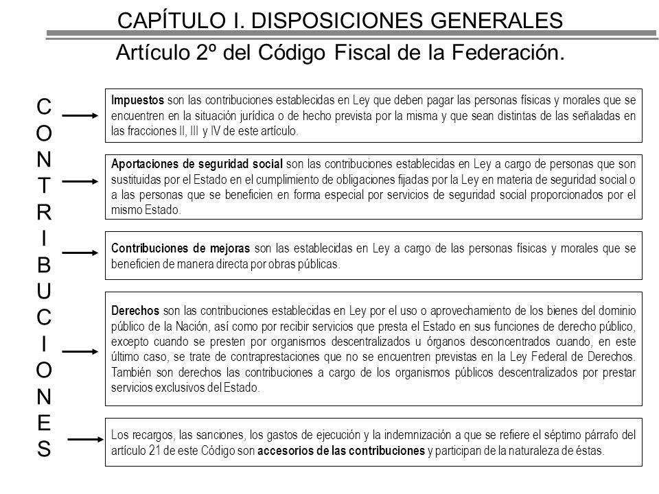 CAPÍTULO I.DISPOSICIONES GENERALES Artículo 2º del Código Fiscal de la Federación.