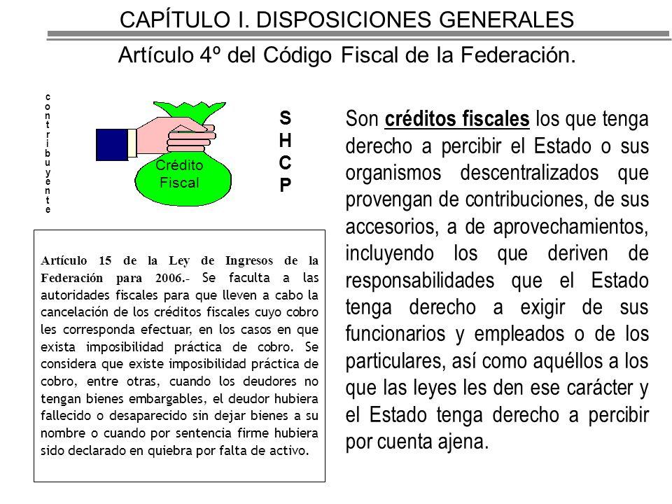 CAPÍTULO I.DISPOSICIONES GENERALES Artículo 4º del Código Fiscal de la Federación.