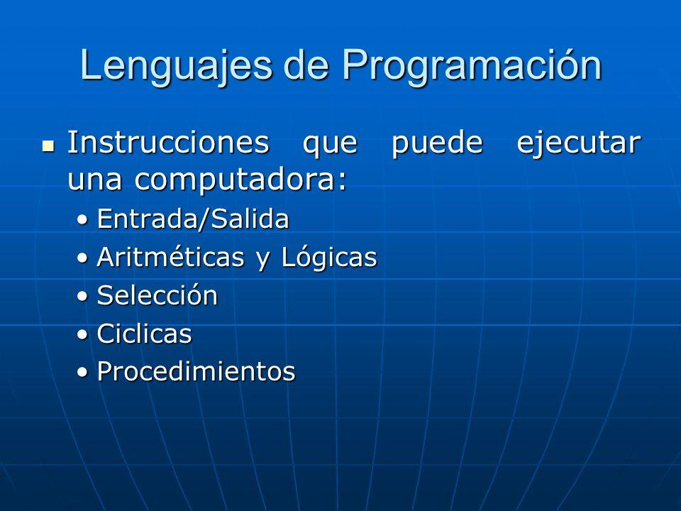 Lenguajes de Programación Instrucciones que puede ejecutar una computadora: Instrucciones que puede ejecutar una computadora: Entrada/SalidaEntrada/Salida Aritméticas y LógicasAritméticas y Lógicas SelecciónSelección CiclicasCiclicas ProcedimientosProcedimientos