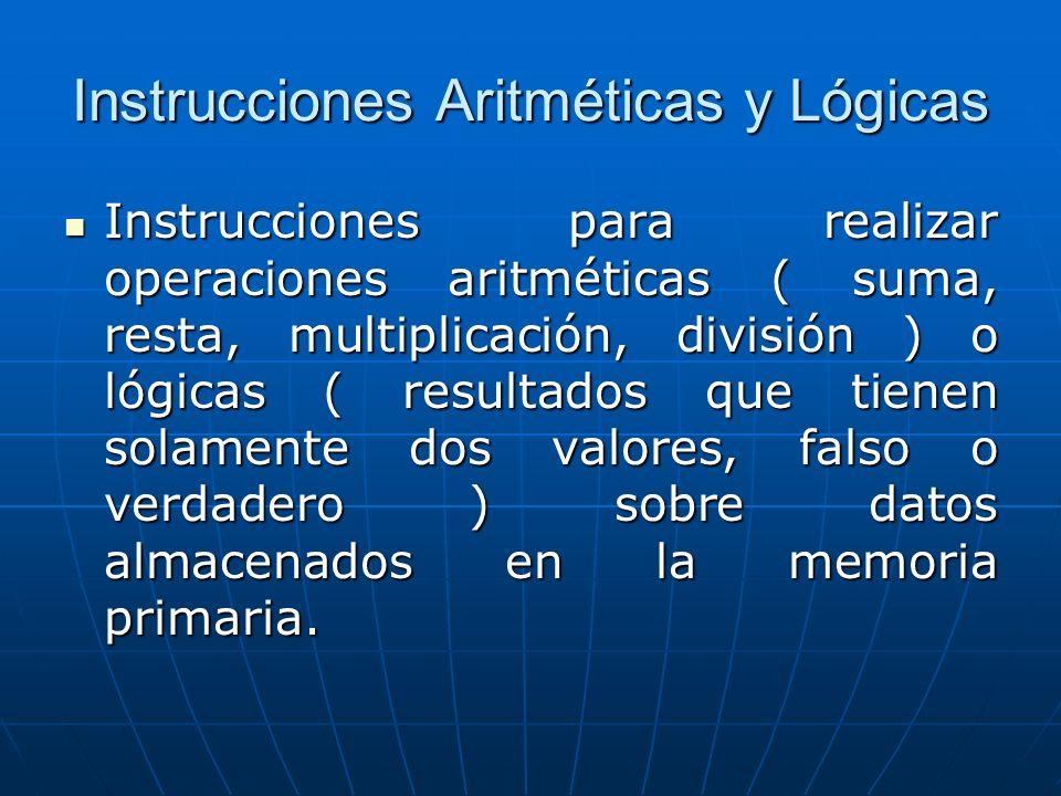 Instrucciones Aritméticas y Lógicas Instrucciones para realizar operaciones aritméticas ( suma, resta, multiplicación, división ) o lógicas ( resultados que tienen solamente dos valores, falso o verdadero ) sobre datos almacenados en la memoria primaria.