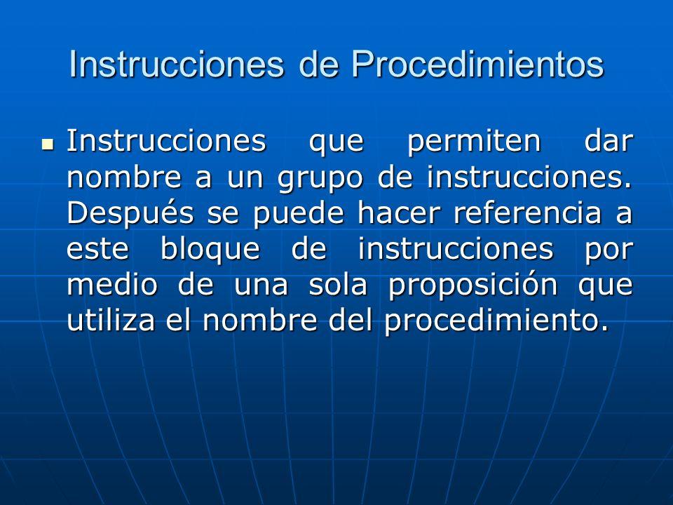 Instrucciones de Procedimientos Instrucciones que permiten dar nombre a un grupo de instrucciones.