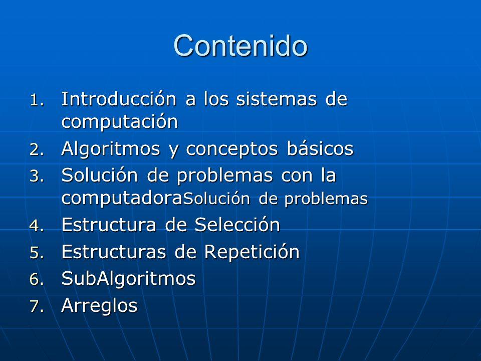 Contenido 1. Introducción a los sistemas de computación 2.