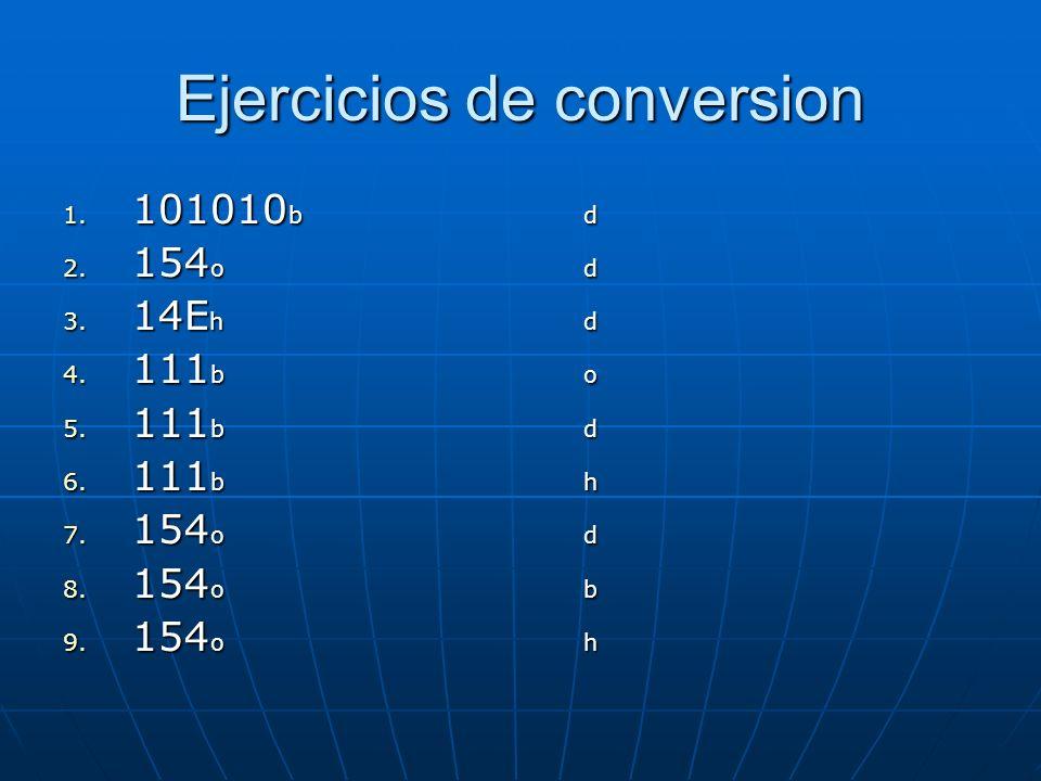 Ejercicios de conversion 1. 101010 bd 2. 154 od 3.