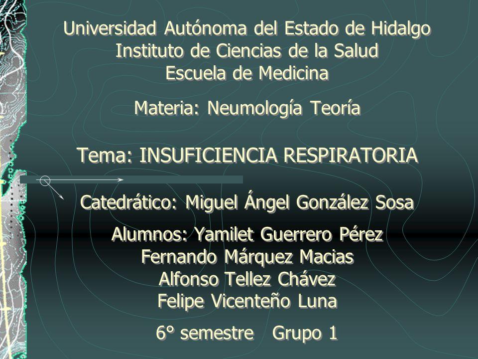 Universidad Autónoma del Estado de Hidalgo Instituto de Ciencias de la Salud Escuela de Medicina Materia: Neumología Teoría Tema: INSUFICIENCIA RESPIR
