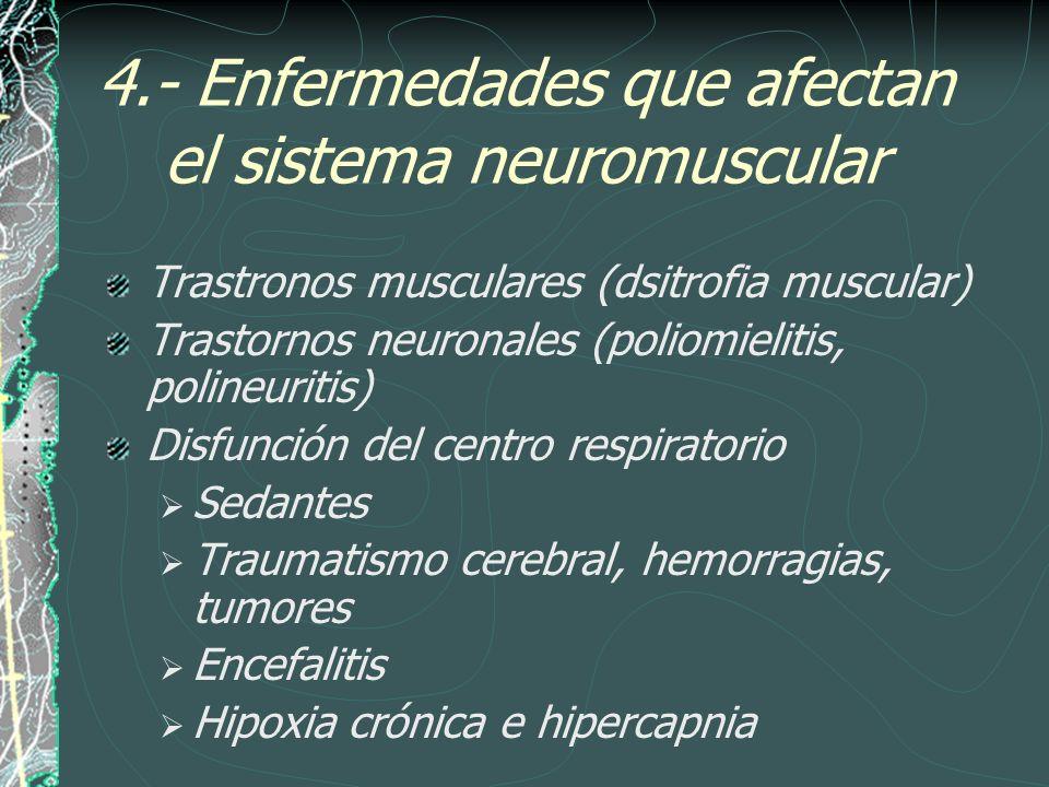 4.- Enfermedades que afectan el sistema neuromuscular Trastronos musculares (dsitrofia muscular) Trastornos neuronales (poliomielitis, polineuritis) D