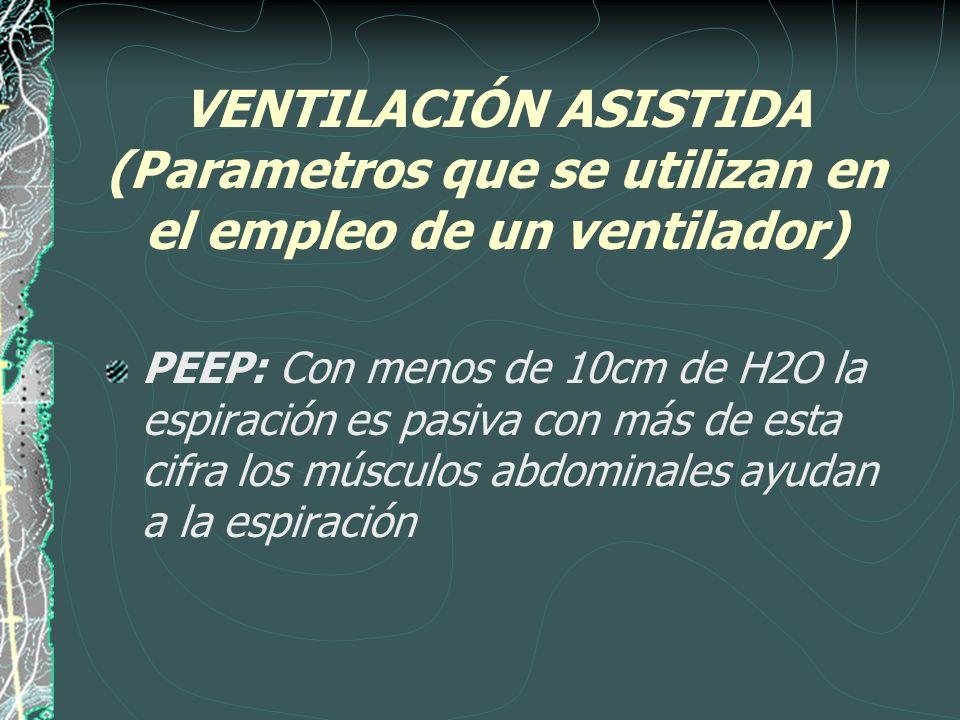 VENTILACIÓN ASISTIDA (Parametros que se utilizan en el empleo de un ventilador) PEEP: Con menos de 10cm de H2O la espiración es pasiva con más de esta