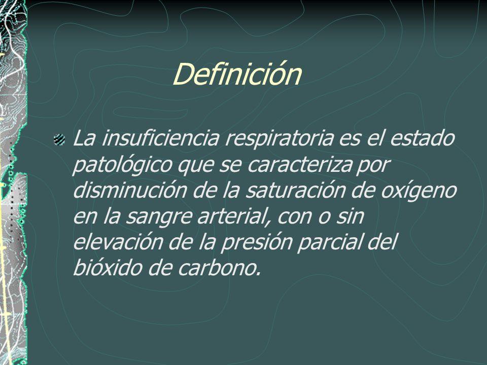 Definición La insuficiencia respiratoria es el estado patológico que se caracteriza por disminución de la saturación de oxígeno en la sangre arterial,