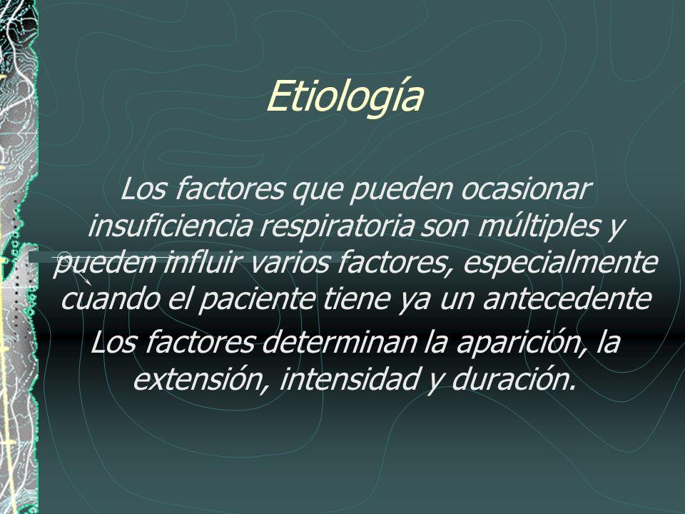Etiología Los factores que pueden ocasionar insuficiencia respiratoria son múltiples y pueden influir varios factores, especialmente cuando el pacient