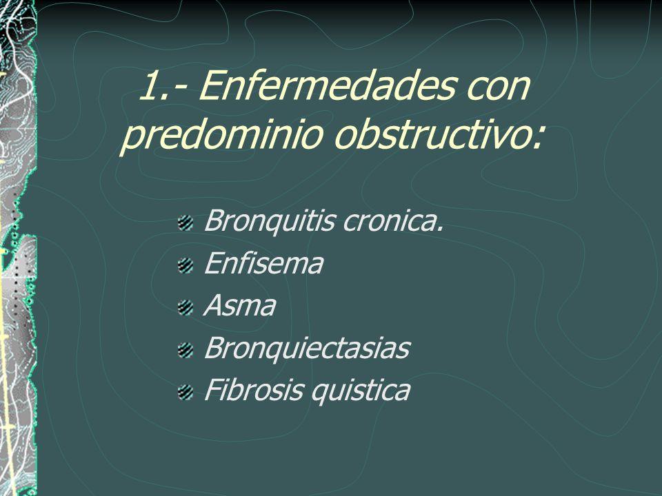 1.- Enfermedades con predominio obstructivo: Bronquitis cronica. Enfisema Asma Bronquiectasias Fibrosis quistica