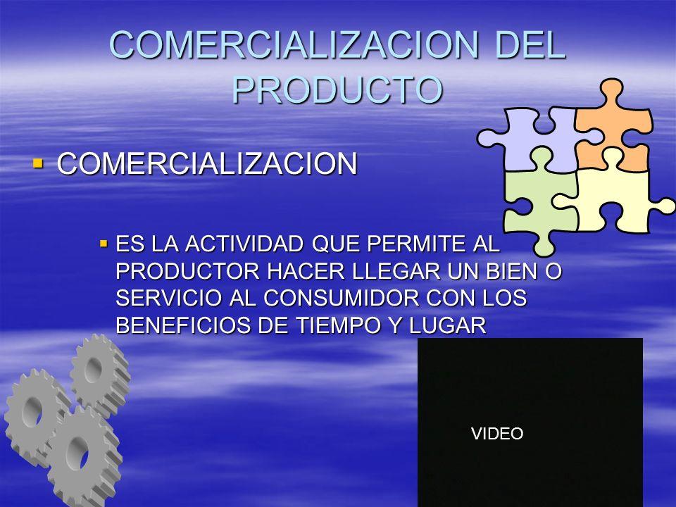 COMERCIALIZACION DEL PRODUCTO COMERCIALIZACION COMERCIALIZACION ES LA ACTIVIDAD QUE PERMITE AL PRODUCTOR HACER LLEGAR UN BIEN O SERVICIO AL CONSUMIDOR