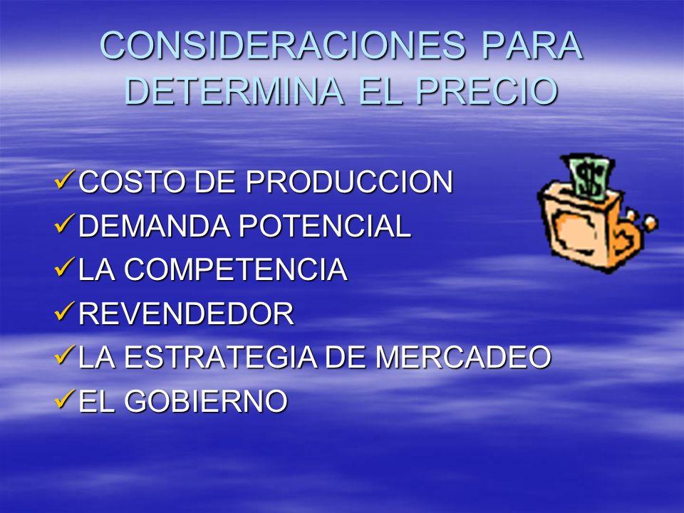 CONSIDERACIONES PARA DETERMINA EL PRECIO COSTO DE PRODUCCION COSTO DE PRODUCCION DEMANDA POTENCIAL DEMANDA POTENCIAL LA COMPETENCIA LA COMPETENCIA REV