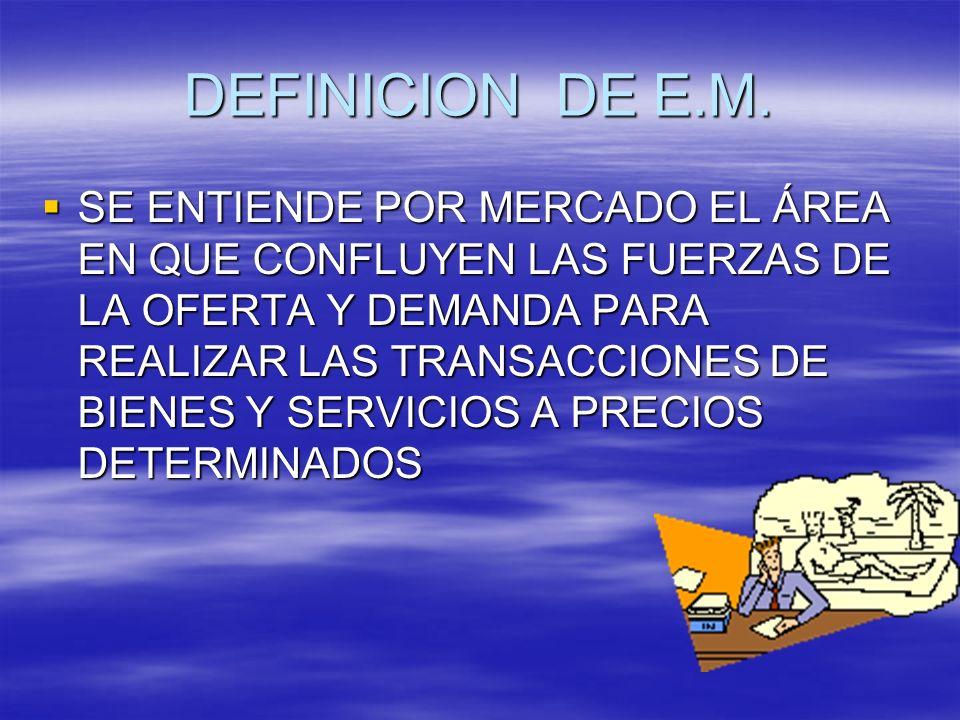 DEFINICION DE E.M. SE ENTIENDE POR MERCADO EL ÁREA EN QUE CONFLUYEN LAS FUERZAS DE LA OFERTA Y DEMANDA PARA REALIZAR LAS TRANSACCIONES DE BIENES Y SER